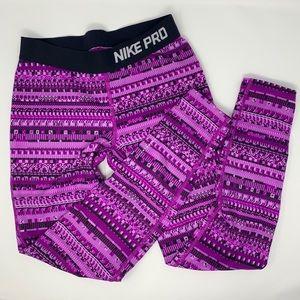 Nike Pro Purple Patterned Leggings Youth Medium
